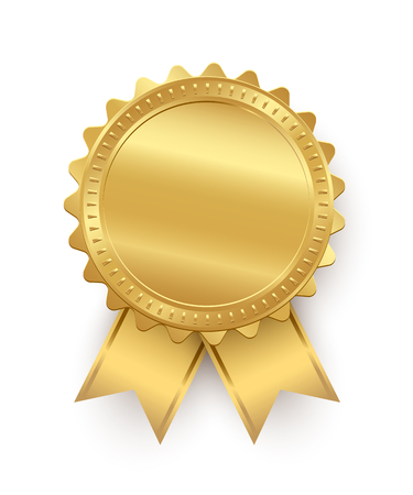 Vector gouden zegel met linten geïsoleerd op een witte achtergrond.