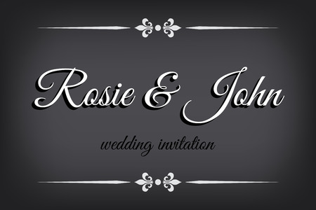 Wedding invitation in silent film style. Retro border on monochromatic background