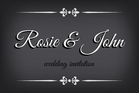 Wedding invitation in silent film style. Retro border on monochromatic background