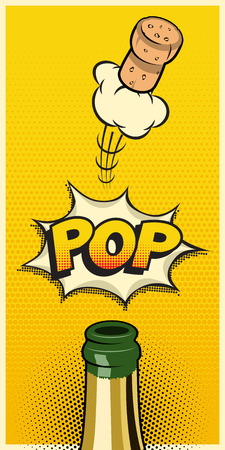 Vector vertical holiday element in comic book or manga style. Champagne bottle with flying cork and Pop word Illustration