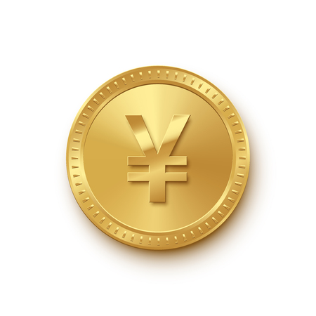Golden coin with Chinese yuan or Japanese yen symbol isolated on white background. Vector finance icon