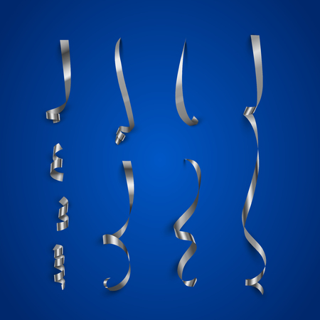 Silver serpentine pieces isolated on blue background. Vector silver serpentine set