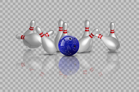 Bowling strike with mirror reflection isolated on transparent background. Vector bowling design element Stock Illustratie