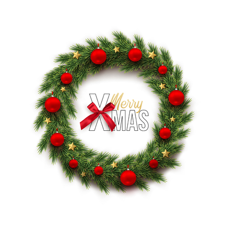 Fir wreath with red Christmas balls and golden stars and Merry Xmas text with bow isolated on white background. Vector winter holiday design template. Stock Photo