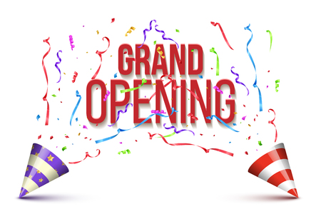 Grand Opening words with two party canes and exploding serpentines and confetti isolated on white background. Vector design template