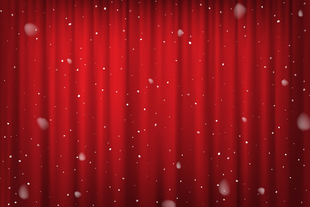 Snowfall on red curtain background. Vector cinema, theater or circus poster template.