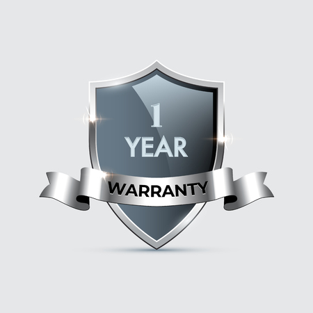 Glass shield with silver frame and ribbon and One year warranty text. Vector one year warranty steel shield illustration