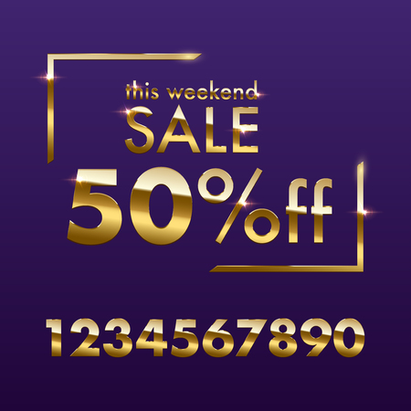 Golden Sale sign template. Vector golden This weekend Sale text with numbers for discount offer isolated on purple background