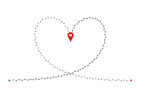 Intersecting footprints of man and woman in heart shape and red map pin with heart in center of illustration. Vector design element.