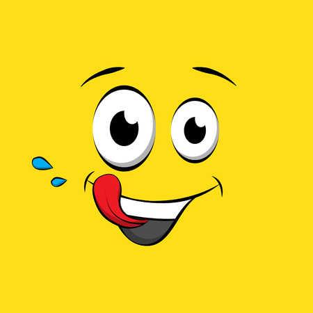 Hungry emoticon or emoji face on yellow background. Yummy yellow smiley in comic book style. Vector emoji tasty icon 일러스트