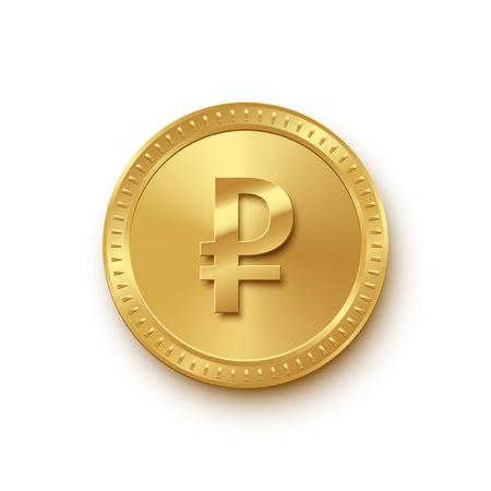 Moneta in oro valuta rublo isolata su priorità bassa bianca. Simbolo di valuta russa vettoriale