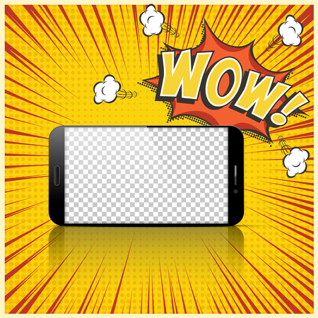 Realistic smartphone with transparent screen on comic book background with Wow speech bubble. Vector template