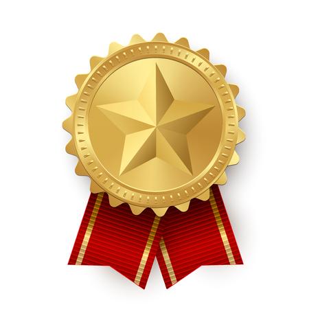 Medaglione d'oro vettoriale con stelle e nastri rossi isolati su sfondo bianco