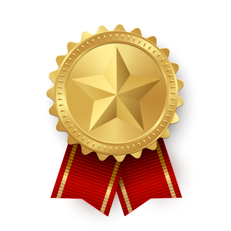 Vector golden medallion with star and red ribbons isolated on white background