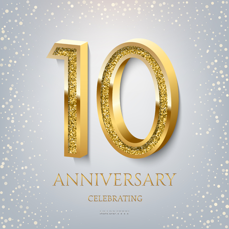 10th Anniversary Celebrating golden text and confetti on light blue background. Vector celebration 10 anniversary event template.