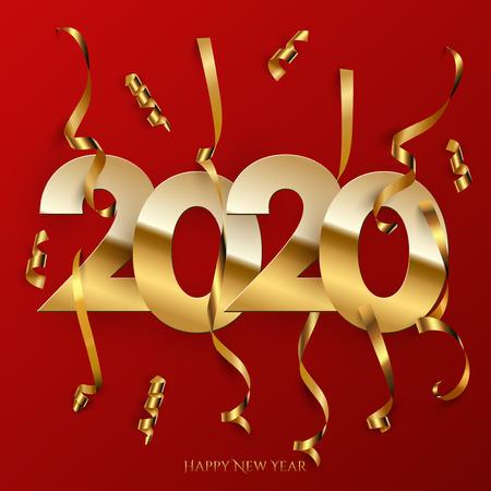 Plantilla de cartel de año nuevo 2020. Signo de vector dorado 2020 con piezas serpentinas doradas aisladas sobre fondo rojo