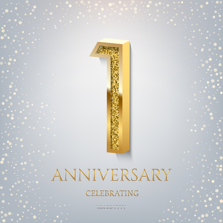 1st Anniversary Celebrating golden text and confetti on light blue background. Vector celebration 1 anniversary event template.
