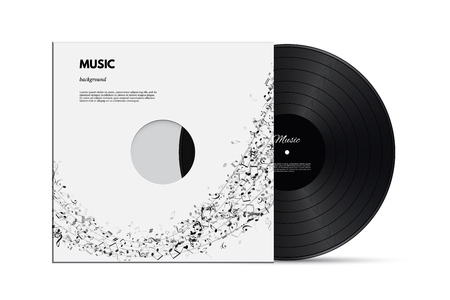 Musical background with vinyl disc and cover with black notes isolated on white background. Vector illustration for music flyer, banner, poster or brochure