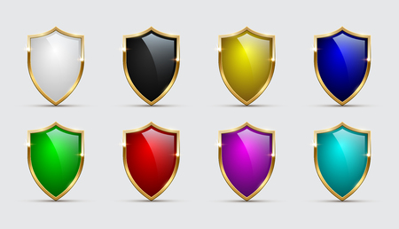 Set of color shields icons with golden frames isolated on white background. Vector design elements