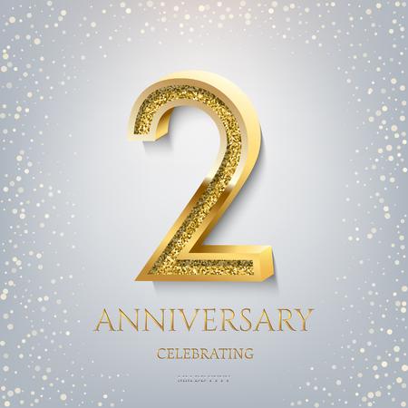 2e anniversaire Célébration du texte doré et des confettis sur fond bleu clair. Modèle d'événement d'anniversaire de célébration de vecteur.