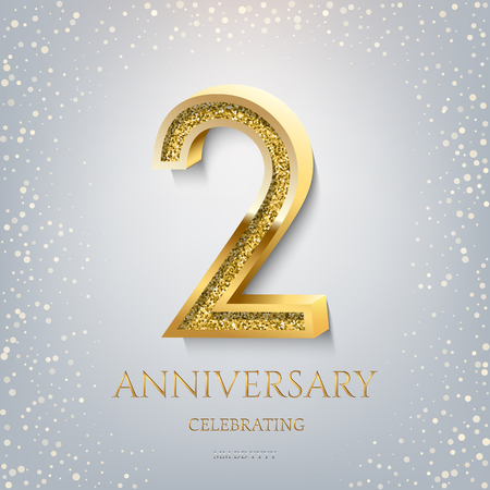 2nd Anniversary Celebrating golden text and confetti on light blue background. Vector celebration 2 anniversary event template.