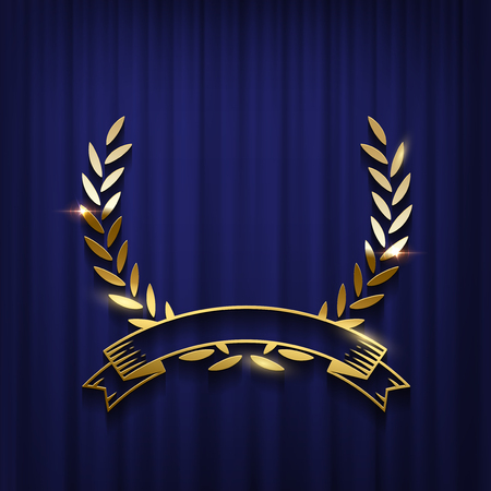 Golden laurel wreath and ribbon isolated on blue curtain background. Vector award ceremony poster template.