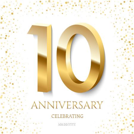 Golden 10th Anniversary Celebrating text and confetti on white background. Vector celebration 10 anniversary event template. Illusztráció