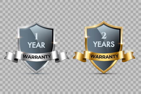 Glass shields with golden and silver frames and ribbons with One year warranty and Two years warranty texts. Vector warranty shields isolated on transparent background. Ilustração