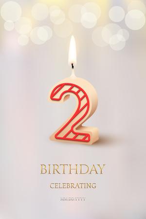 Burning number 2 birthday candle with birthday celebration text on light blurred background. Vector secod birthday invitation template. Ilustração