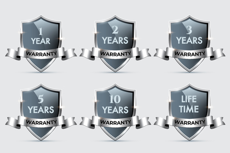 Glass shields with silver frames and ribbons with different warranty texts. Vector warranty shields isolated on transparent background.