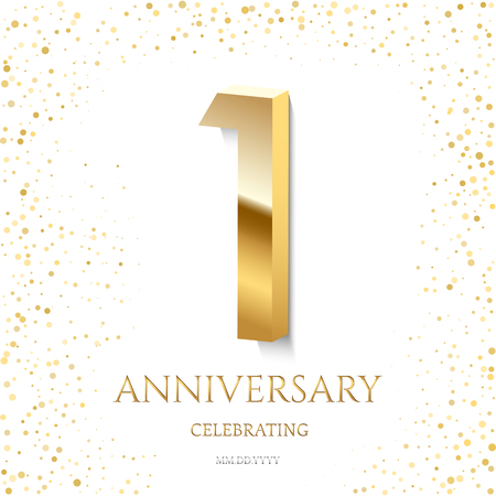Golden 1st Anniversary Celebrating text and confetti on white background. Vector celebration 1 anniversary event template.