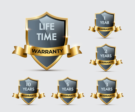 Glass shields with golden frames and ribbons with different warranty texts. Vector warranty shields isolated on transparent background Stock Vector - 125353094