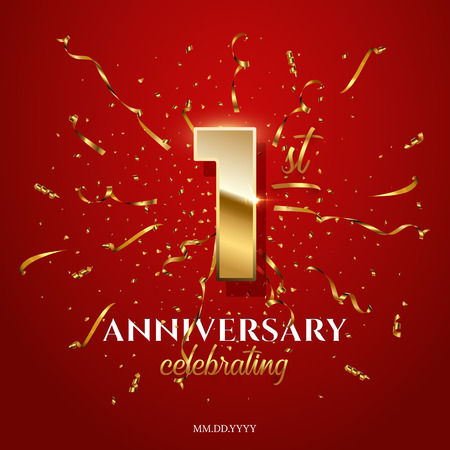 1 golden number and Anniversary Celebrating text with golden serpentine and confetti on red background. Vector first anniversary celebration event square template.