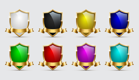 Set of color shields icons with golden frames and ribbons isolated on white background. Vector templates