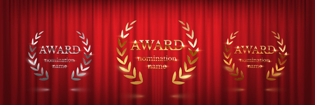 Golden, silver and bronze award signs with laurel wreath isolated on red curtain background. Vector award design templates Ilustrace