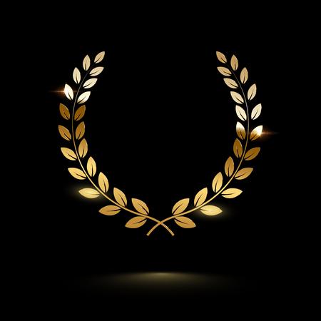Golden shiny laurel wreath isolated on black background. Vector design element. Vecteurs