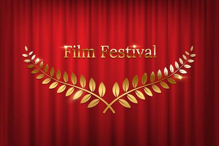Golden shiny award laurel wreaths and Film Festival text isolated on red curtain background. Vector design element.