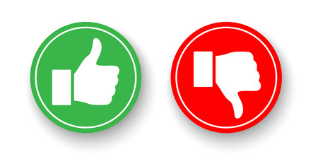 Green and red circles with Thumbs up and Thumbs down icons isolated on white background. Vector design elements