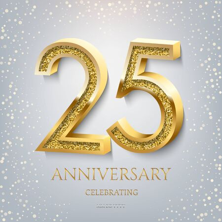 25th Anniversary Celebrating golden text and confetti on light blue background. Vector celebration 25 anniversary event template. Illustration