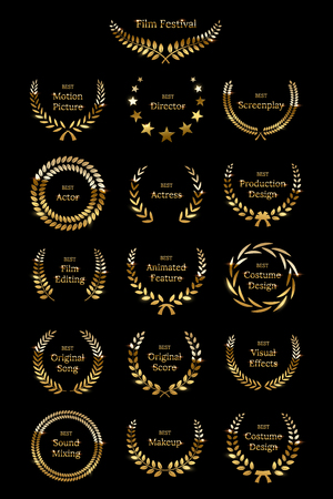 Golden shiny award laurel wreaths isolated on black background. Vector Film Awards design elements. Stockfoto - 121593509