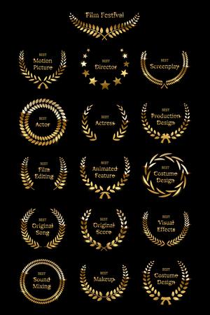 Golden shiny award laurel wreaths isolated on black background. Vector Film Awards design elements.