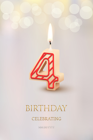 Burning number 4 birthday candle with birthday celebration text on light blurred background. Vector fourth birthday invitation template.