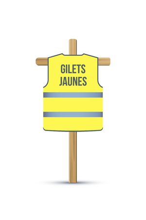 Yellow vest political movement flat vector illustration. Paris protest action. Gilet jaunes cartoon France meeting. Demonstration, riot. Yellow jacket hanging on wooden stick isolated design element