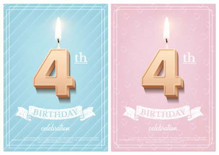 Burning number 4 birthday candle with vintage ribbon and birthday celebration text on textured blue and pink backgrounds in postcard format. Vector vertical fourth birthday invitation templates Illustration