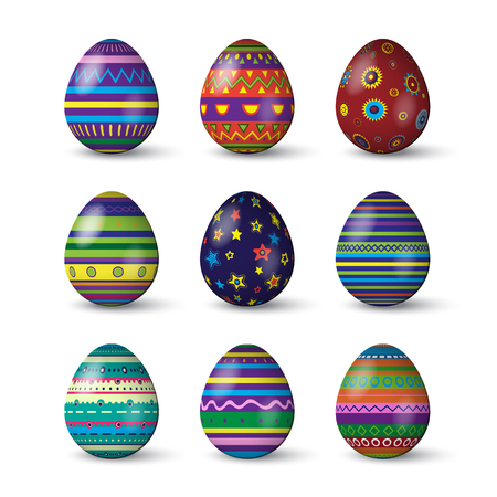 Easter eggs with different texture on white background. Vector spring holiday elements