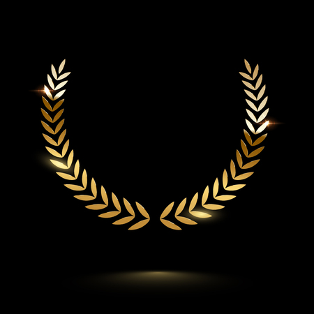 Golden shiny laurel wreath isolated on black background. Vector design element.