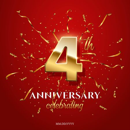 4 golden number and Anniversary Celebrating text with golden serpentine and confetti on red background. Vector fourth anniversary celebration event square template.