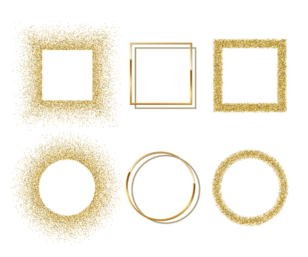 Golden shiny round and square frames with shadows isolated on white background. Vector golden luxury realistic border set.