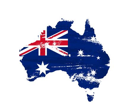 Australian flag on grunge map of Australia isolated on white background. Vector illustration