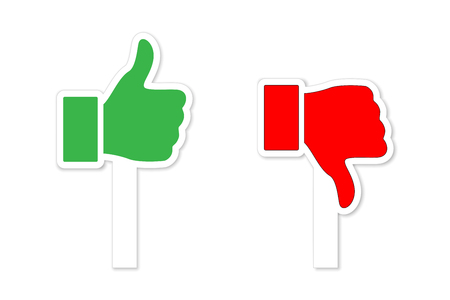 Green Thumbs up and red Thumbs down symbols on sticks isolated on white background. Vector design elements Ilustracja